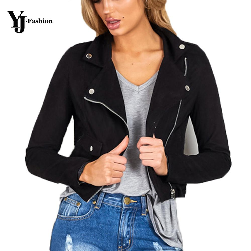 Wholesale Fashion Leather Suede Bomber Jacket Women Turn Down ...