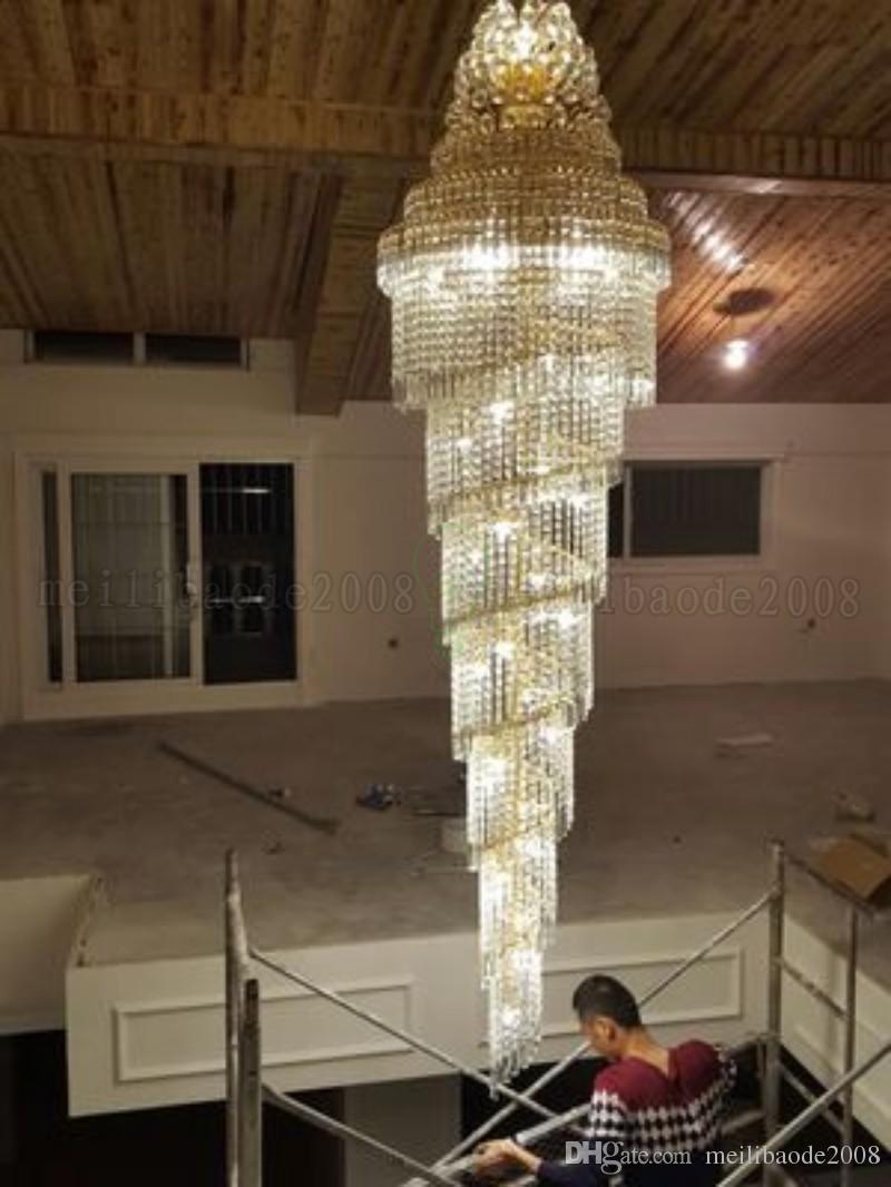 جديد الذهب الثريا قصر دوامة كبيرة الكريستال قلادة مصباح فيلا فندق قاعة ضوء الدرج أضواء droplight MYY