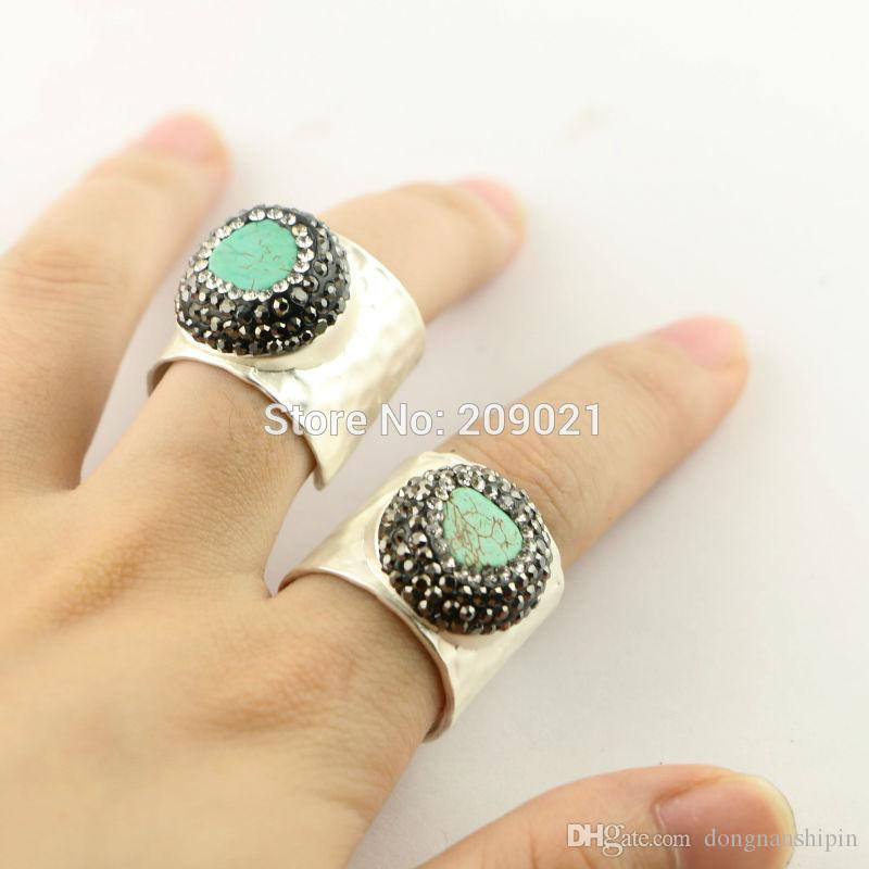 Fashion ~ 5pcs Silver Plated Pave Rhinestone Crystal Turquoise Rings Charms Jewelry Finding