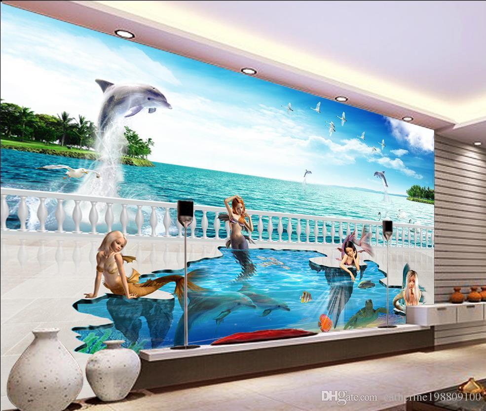 3D cuento de hadas mágico mundo sirena de la sirena TV telón de fondo de pared 3D cuento de hadas mágico mundo sirena delfín TV telón de fondo de la pared