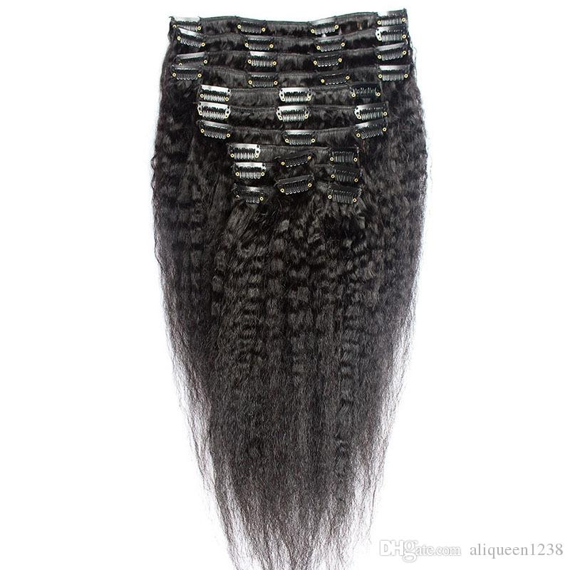 100g Coarse Yaki Clip in Hair Extensions Unprocessed Mongolian Kinky Straight Clip ins for Black Women Full Head