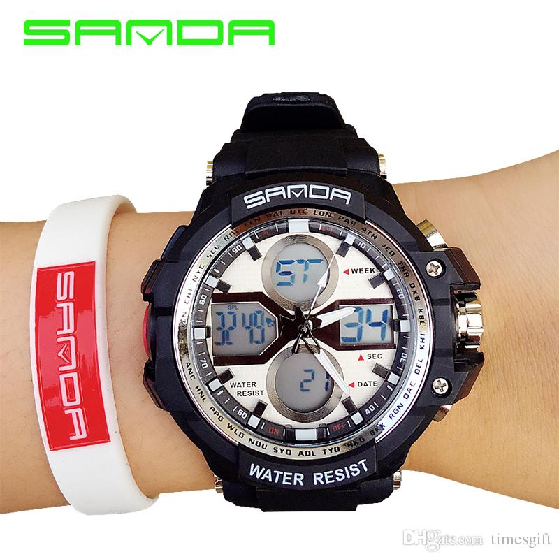 Men New Arrival Watches 2017 New Sanda 30m Waterproof Japan Quartz Rubber Military Army Shock Men's Wrist Watch Fabric Bracelet