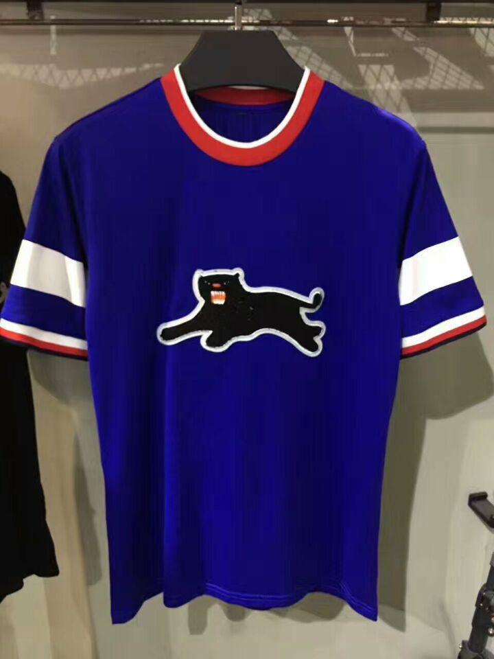 2017 Fashion Top Brand Short Sleeve Animal Printed T Shirt Black ...