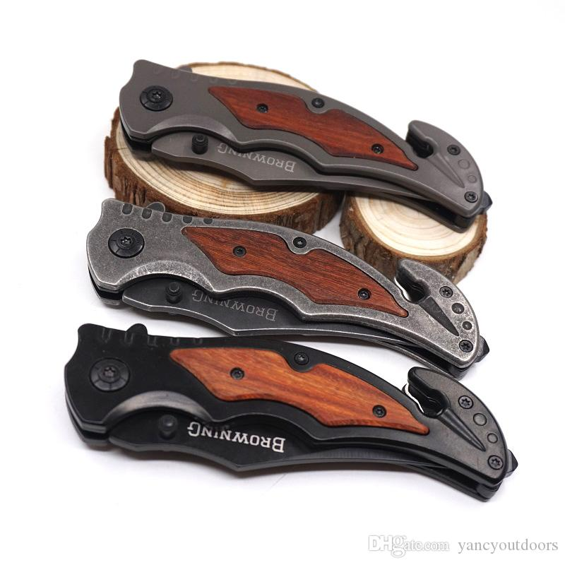 Browning 233 Folding Tactical Survival Messer Stone Wash Taschenmesser 440C Blade Holzgriff Titanium Jagdmesser Camping Tools 3 Farben