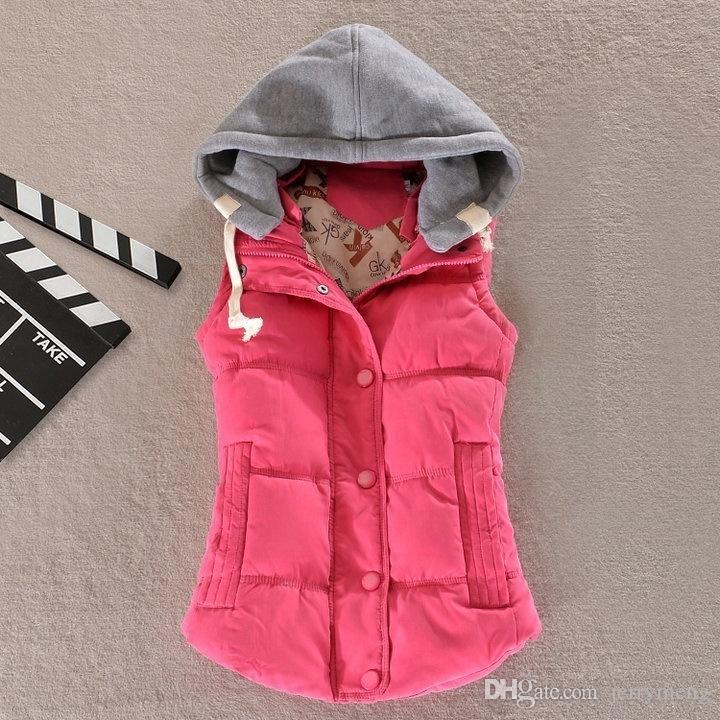 Gilet Veste Femme Kobiety Kamizelka Kobieta Ciepła Kurtka Bez Rękawów Bawełna Solidna Kapturem Kamizelka Dla Kobiet Odzież Odzieżowa Kobieta Colete Feminino