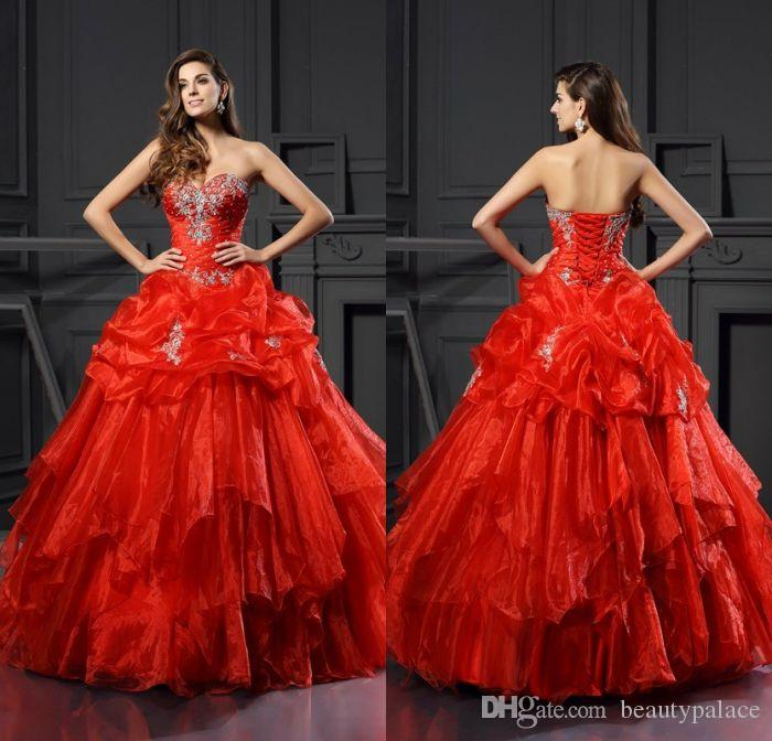 a34bf000ce6 Free Shipping Sweet 16 Girls  Ball Gown Red Ruched Organza Quinceanera  Dresses Appliques Beaded Popular Sweetheart Prom Dresses Lace Up