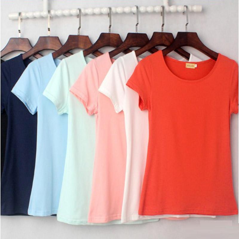 الجملة / الكثير أنثى T قميص المرأة الصيف قمصان قصيرة الصلبة O عنق القميص عادية كم القمم الألوان المختلطة