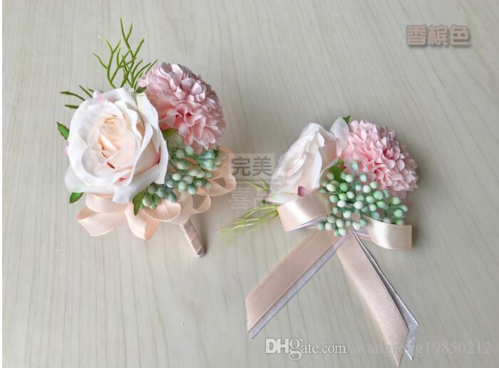 The bride bridegroom flowers corsages brooches beach wedding bouquets bridesmaids bouquets wrist flowers business party brooches three color