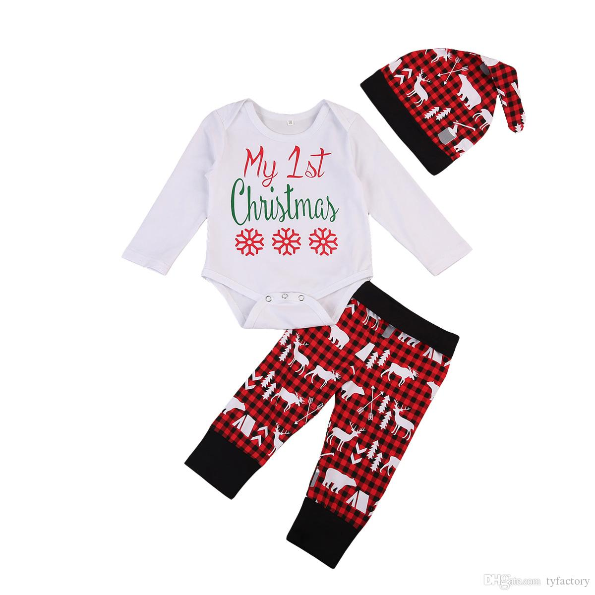 c347e75a3 2019 Kids Fashion Clothing Baby Boy Girl Christmas Sets Newborn Infant  Romper+Animals Pants+Hat Baby Boys Girls Bodysuits Outfits Snow Tree From  Tyfactory, ...