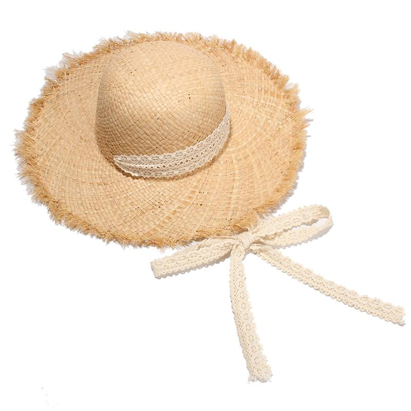 9d89cee12 Wholesale- Summer Hats For Women Raffia Straw Hats With Wide Brim Ladies  Elegant Long Lace Belt Beach Caps Sombrero Mujer
