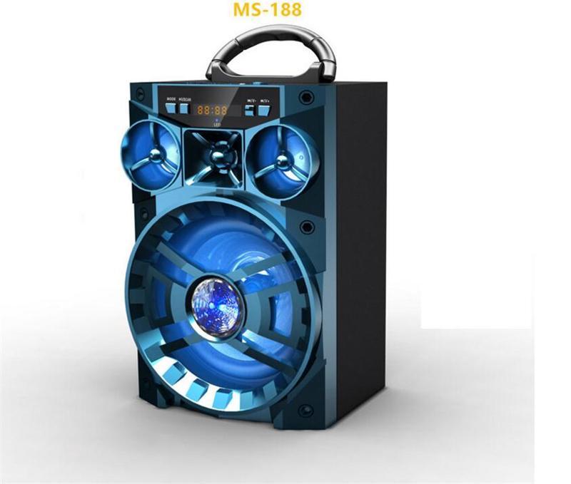MS-188BT Bluetooth Haut-Parleur Big Sound HiFi Haut-Parleur Basse Sans Fil Subwoofer Boîte à Musique Avec USB LED Lumière TF FM Radio MIS137