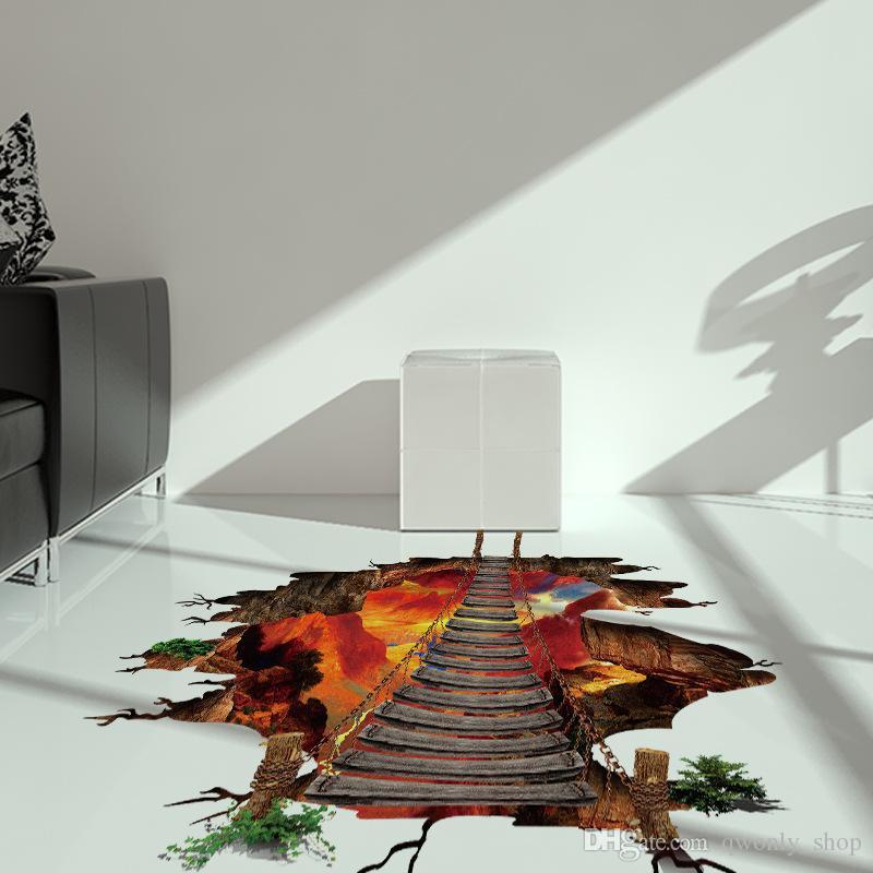 Adesivi pavimento in 3D 2 Volcanic Magma Crack Decalcomania DIY Adesivi murali removibili Camera da letto Soggiorno Decorazione del fondo del corridoio