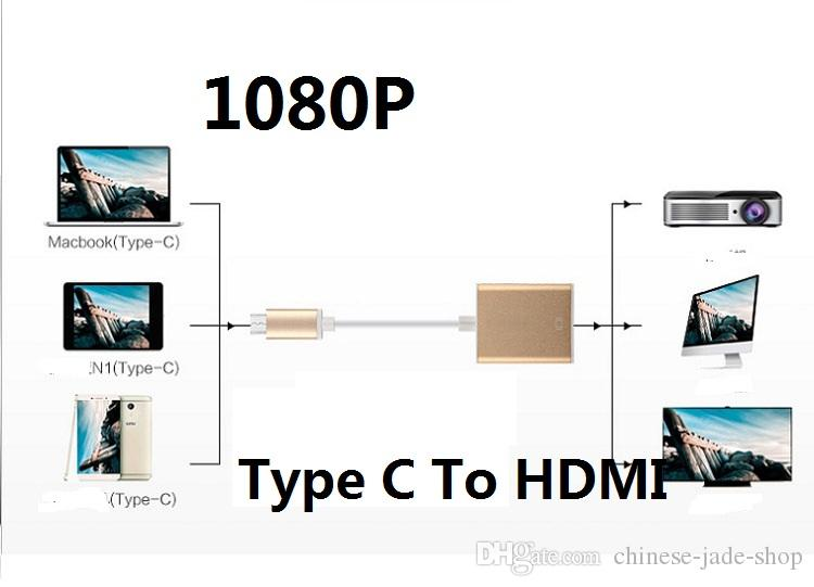 15CM USB 3.1 TYPE C TO HDMI 1080P Adapter Video Cable Connector for Macbook