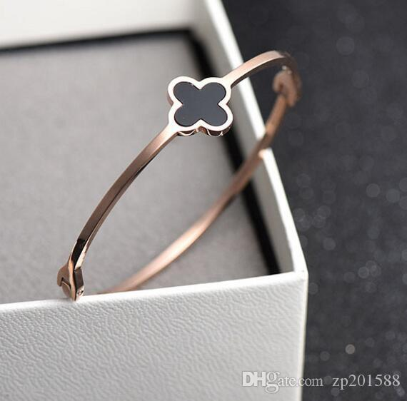 40 style Random Delivery Stainless Steel Design Four-leaf Clover Bangle&Bracelet Inlaid Authentic Shell Bangle Women Jewelry Valentine Gift