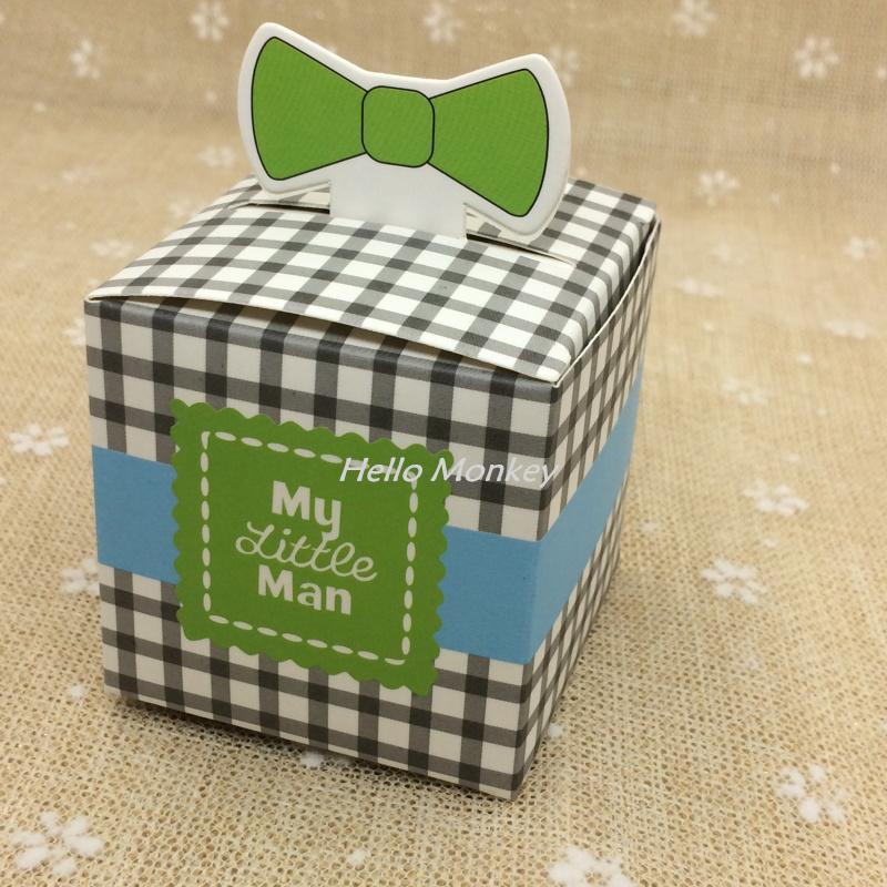 Wholesale My Little Man Bow Tie Birthday Boy Baby Shower Favor Candy Treat Bag Wedding Favors Box Gift Bags Luxury Christmas Wrap