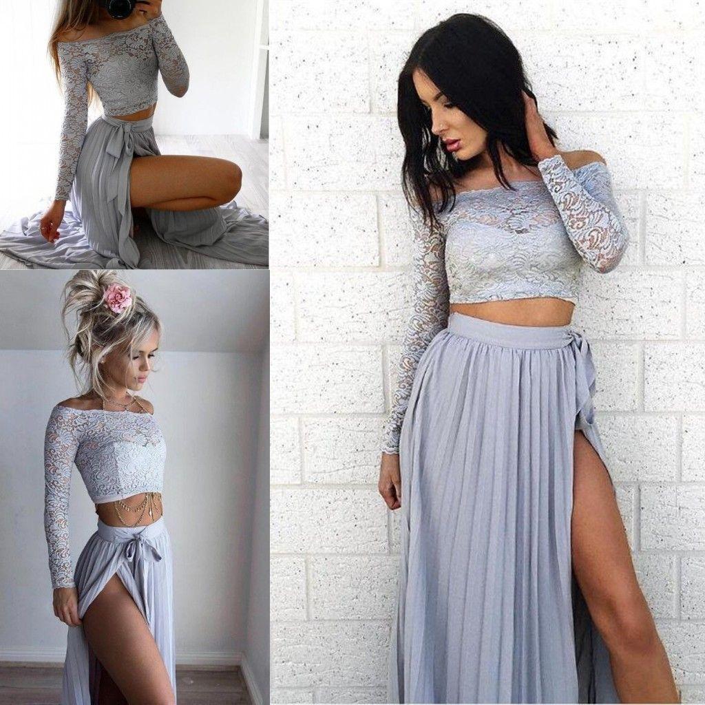 2017 Newest A Line Lace Long Silver Prom Dress Chiffon Two Piece ...