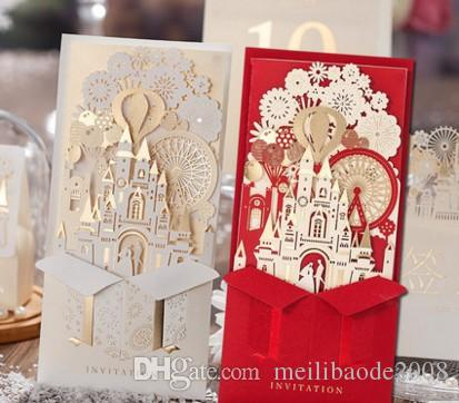 unique 3d laser castle wedding invitations cards laser cut 2016