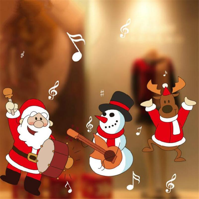 Christmas Decorations Stickers Decorate Glass Door Window Stickers Wall  Stickers Drum Stick Window Grilles Snowman Old Man Tree Wall Mural Decal  Tree Wall ...