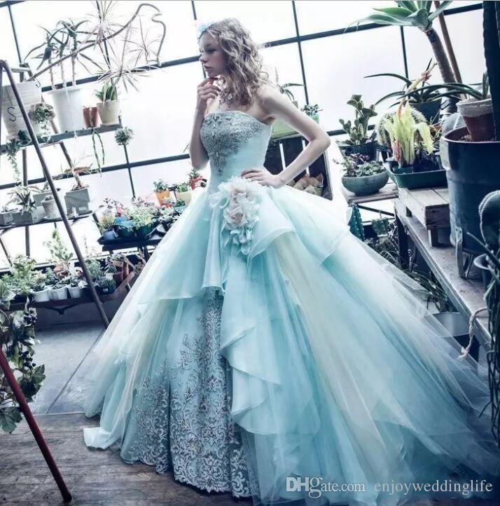 2018 Ocean Blue Strapless Ball Gown Quinceanera Dresses