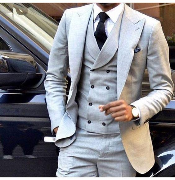 64dfcf21cd4 2019 Wholesale Latest Coat Pant Designs Light Grey Men Suit Double Breasted Slim  Fit Skinny Tuxedo Simple Custom Suits Terno Masculino From Bida Josh