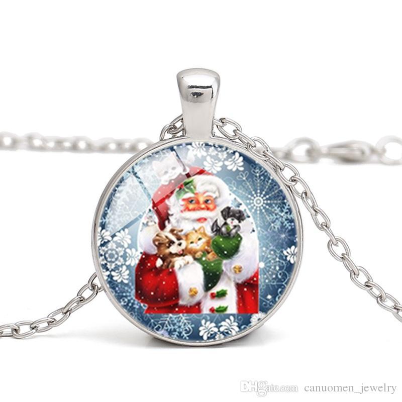 Papai Noel Pingente Luminoso Colares Boneco de Neve De Natal Cabochão De Vidro Luz Azul no Escuro Charme Presentes Colar de Jóias