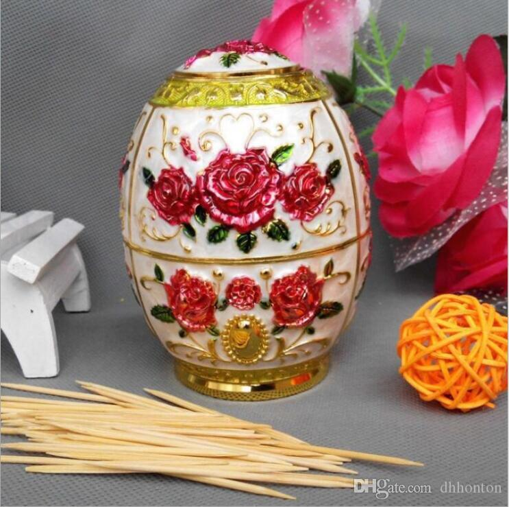 Rose pattern зубочистка Box творческий яйцевидной формы зубочистка трубки дома и украшения много цветов бесплатная доставка HD01