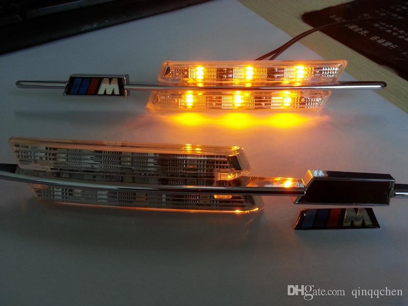 LED Fender Side Turn Signals Door lamp SIDE Marker Light 12V SMD3528 Bulb Kit For BMW E60 E61 E81 E82 E87 E88 E90 E91 E92 M Logo