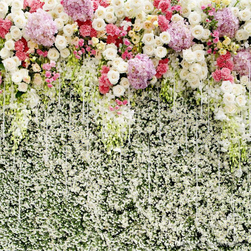 2018 White Pink Lilac Flowers Wall Wedding Photography Backdrop