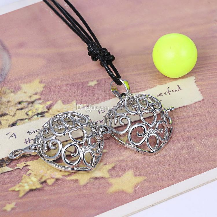 Heart Harmony Bell Ball Musical Pregnancy Baby Chime Bola Locket Cage Pendant Fetal Education Angel Sounds Caller Necklace