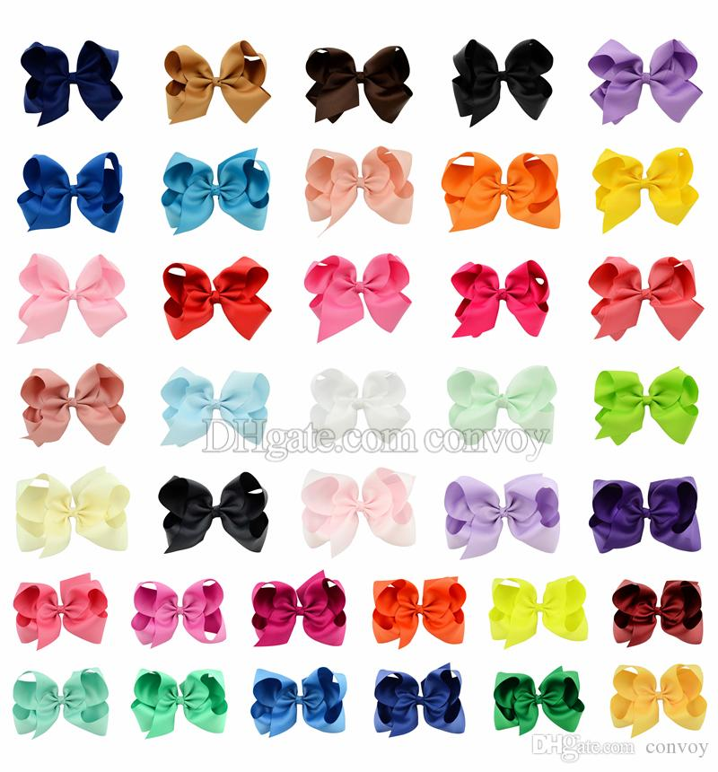 37 Colors 6 Inch Fashion Baby Ribbon Bow Hairpin Clips Girls Large Bowknot Barrette Kids Hair Boutique Bows Children Hair Accessories KFJ125