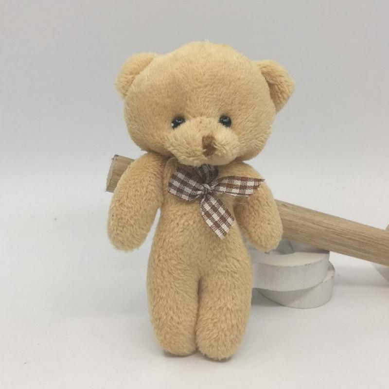 200 Pçs / lote Atacado 12 cm Bonito Mini Teddy Bear Plush Crianças Brinquedos Recheado Bonecas Pingente Adorável Presente de Casamento para crianças