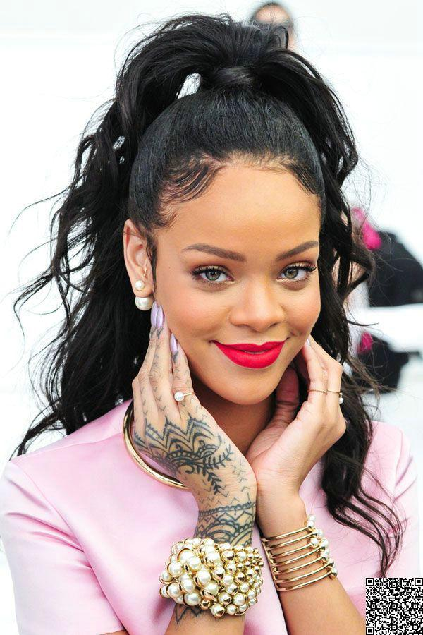 Rihanna ponytail hairstyle clip in black long high natural wavy rihanna ponytail hairstyle clip in black long high natural wavy human hair drawstring ponytails hair extensions 120g or 140g hair extension ponytail pmusecretfo Image collections