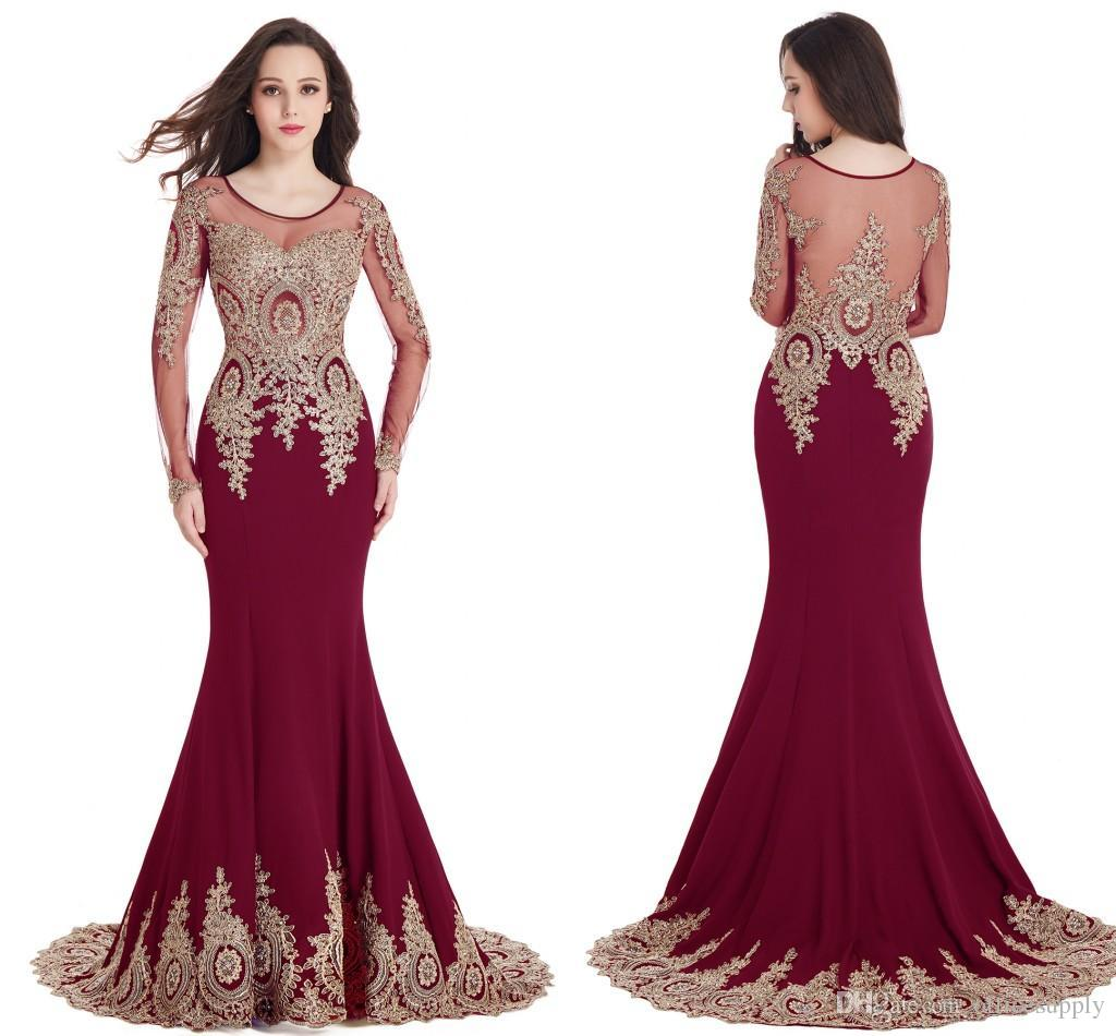Sheer mermaid long sleeves burgundy evening prom dresses for Burgundy and gold wedding dress
