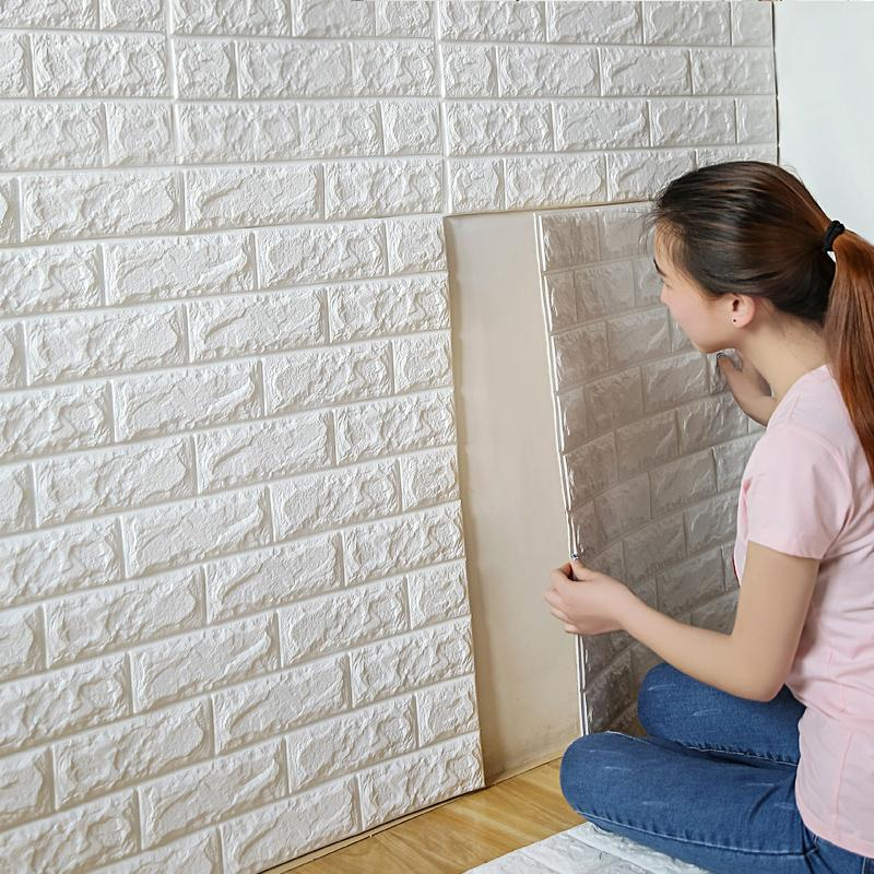 Wholesale 70x77cm Pe Foam 3d Wall Stickers Safty Home Decor Wallpaper Diy  Wall Decor Brick Living Room Kids Bedroom Decorative Sticker Customized Wall  ...