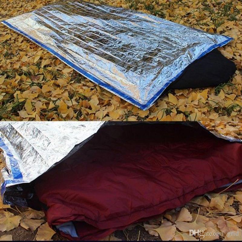Toptan Ücretsiz DHL Açık hayat kurtarıcı anlaşma Taşınabilir Su Geçirmez Kullanımlık Acil Kurtarma Folyo Kamp Survival Uyku Tulumu