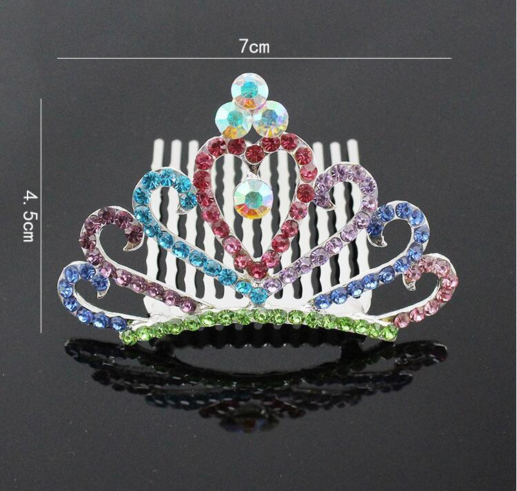 Heart shaped Crystal Mini Tiara Crown For Girl women children Prom Hair Combs Headdress Wedding Bridesmaid Hair Jewelry Accessories