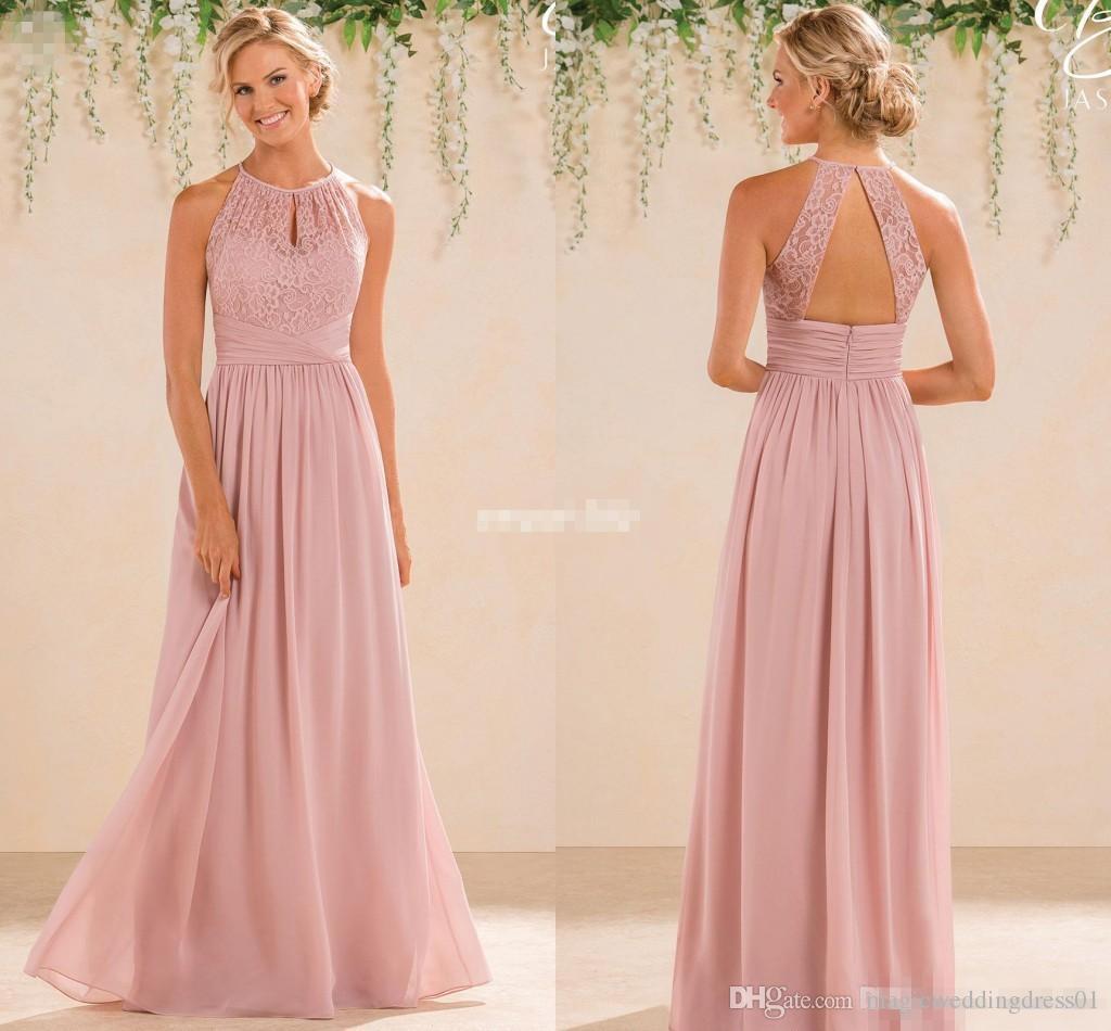Blush 2017 Cheap A Line Lace Chiffon Bridesmaid Dresses A Line High Neck Backless Long Summer Beach Garden Wedding Guest Evening Party Gowns