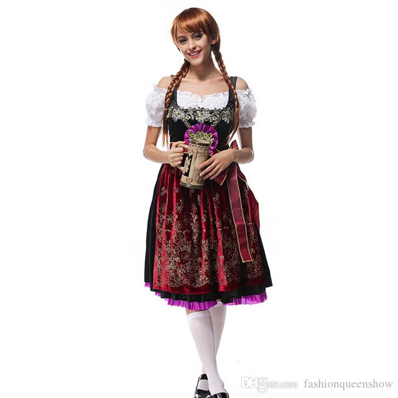Allemande Oktoberfest Beer Girl Dress Barmaid Vêtements Sexy Party Wench Cosplay Costume Uniforme Carnaval Déguisements
