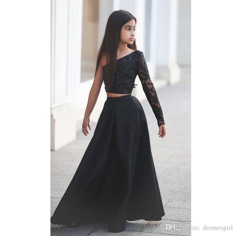 Pageant New Girl's Black style d'une épaule robes deux pièces Appliques strass pure manches longues Kid longues robes de soirée formelle