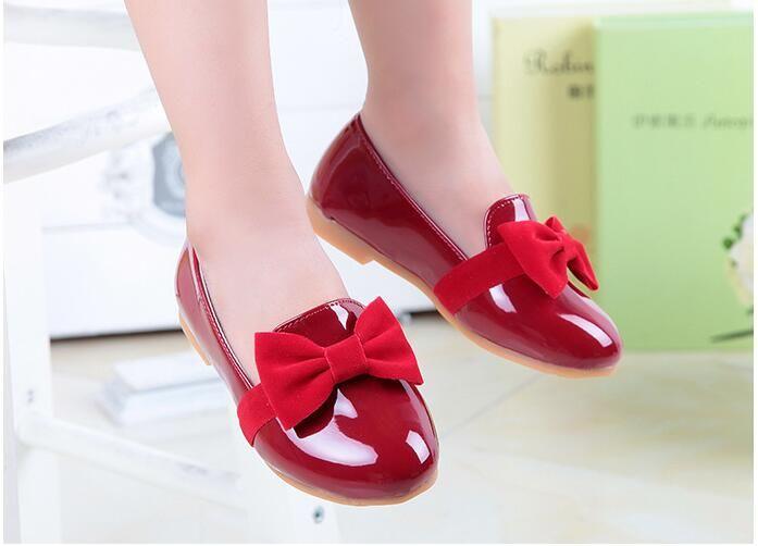e3d0d3f8944b2 Kids Shoes Fashion Girl Princess Flat Shoes Girls Bow PU Leather Shoes  L  Baby Boy Leather Shoes Black Leather Shoes For Girls From Choicegoods521