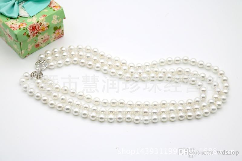 Wholesale-Classic Jewelry Hot Selling Natural Pearl Necklace 15.5 Inch 8mm 10mm 12mm Round pink White Pearl Necklace