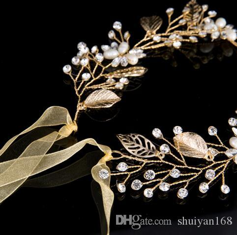 Fashion Gold Pearl And Crystal Bridal Hair Vine Ribbon Headband Hair Jewelry Hair Accessories for Women Christmas Gift