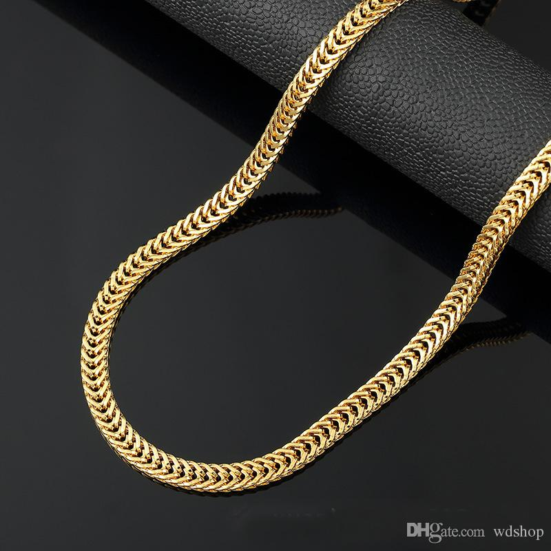 d2c90cfaa85c 2019 6MM Long Gold Chain For Men Chain Necklace New Trendy 18K Gold  Stainless Steel Foxtail Flat Chains Bohemian Jewelry Colar Male Necklaces  From Wdshop