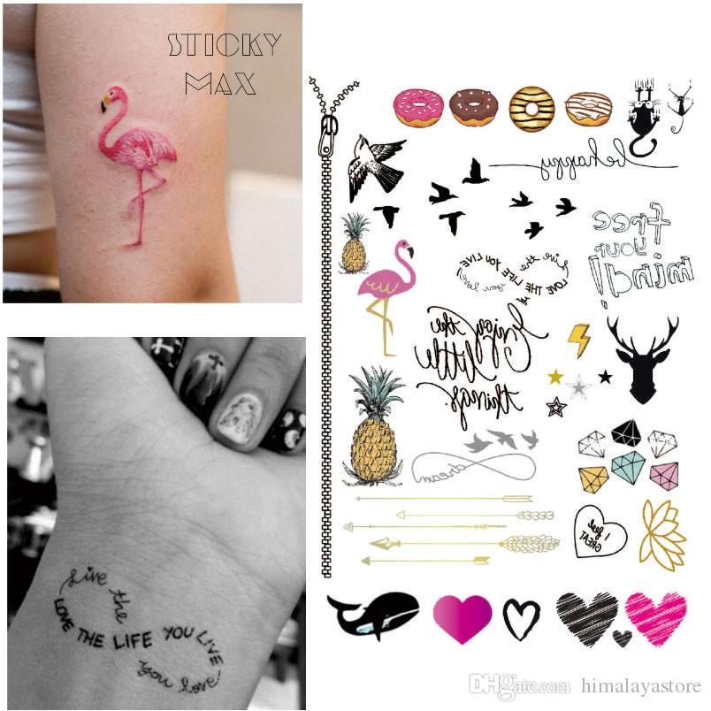 54b1d5e42 W14 Funky Flamingo Temporary Tattoo With Donut, Pineapple, Ultimate Symbol  Pattern Body Paint Tattoos Temporary Tattoo Spray Temporary Tattoos Henna  From ...