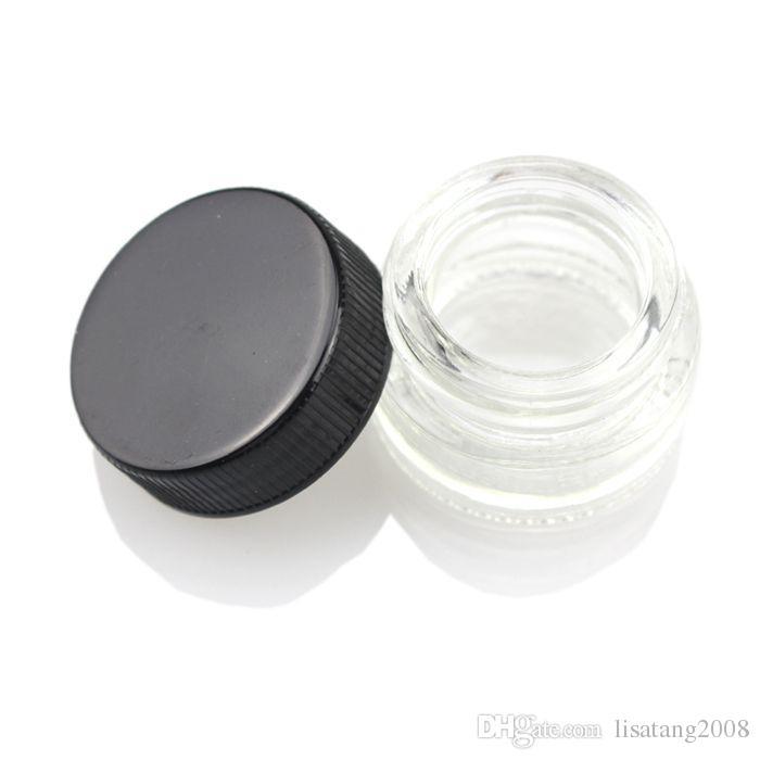 Grau alimentício antiaderente 5ml frasco de vidro temperado recipiente de vidro cera Dab Jar secante erval recipiente com tampa preta vs 6ml frasco de vidro DHL