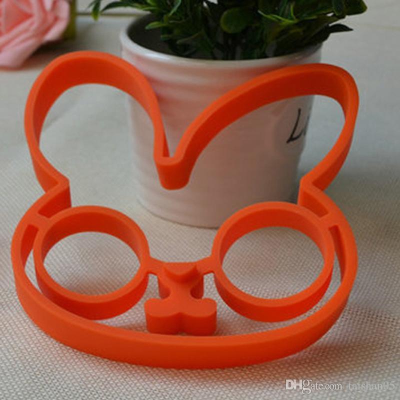 2017 Orange Silicone Bunny Cartoon Fry Egg Frame Egg Mold Pancake Egg Rings Shaper Kitchen Tool