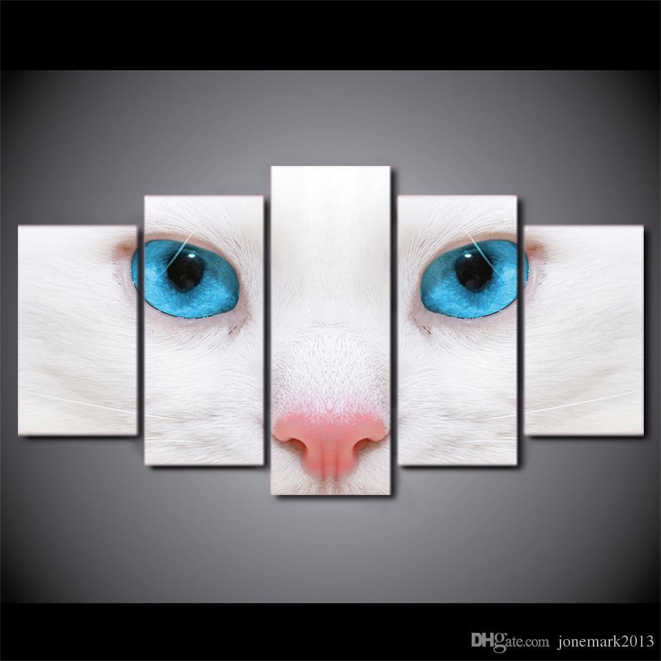 Compre 5 Unidades Enmarcadas Hd Impreso Blanco Gato Ojos Azules ...