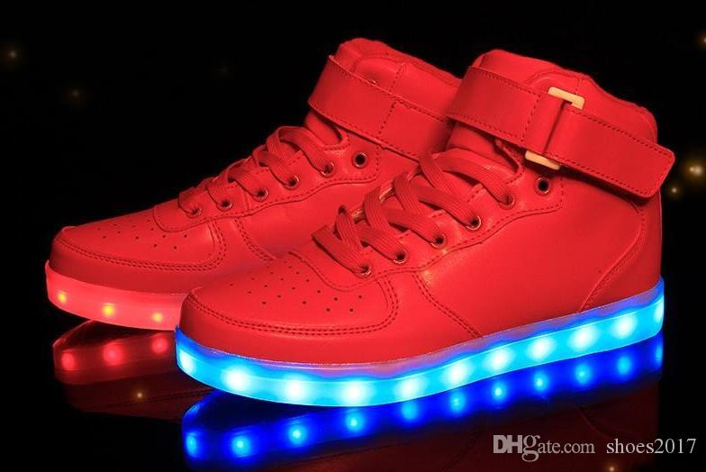Basket Shoes Led Top Shoe Women Schoenen Mens High 2017 Up Light 1Pqfgfw