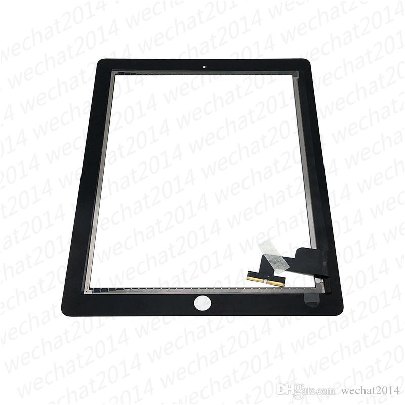 Touch-Screen-Glasverkleidung mit Digitizer für iPad 2 3 4 Schwarzweiss-DHL