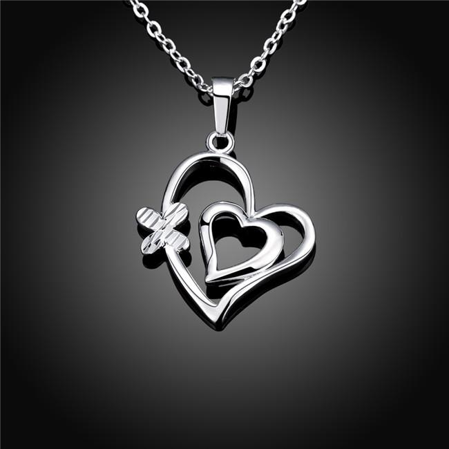 hot sale Engraved women's sterling silver plate Necklace,fashion 925 silver pendant Necklace with chains GN733